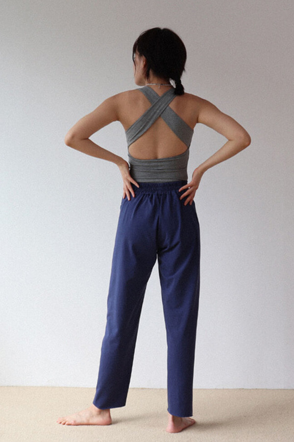 Button Point pants-NavyBlue